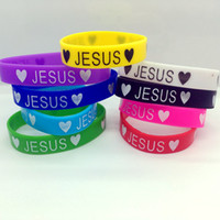 Wholesale Silicone Friendship Bracelet - Jesus Heart Silicone Bracelet 100pcs Lot Mens Womens Silicone Wristband Elastic Bracelet Friendship Cuff 9 Colors Party Gift Jewelry