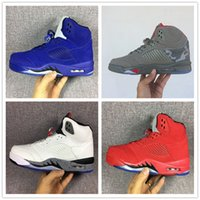 Wholesale Color Thread For Leather - Classic retro 5 basketball shoes white cement black metallic red blue suede Oreo sneakers Grape color bel air Oreo for men women