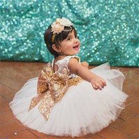 Wholesale Embroidered Sequin Bows - 2017 baby girls sequin bowknot baby girls wedding party dress newborn princess 1 year birthday dress tutu baptism dress