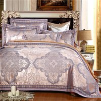 Atacado- 2016 Jacquard Gold Bedlinen Queen / King Size Bordado Lace Duvet cover Set Seda e Algodão Bedding Sets bedsheet