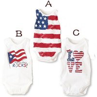 "Wholesale Baby Boy Body Suits - Wholesale-summer baby boy and girl body suits 4th of july onesie stripes ""Love"" and stars pattern"
