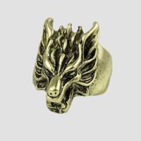 Wholesale Wolf Band Ring - Wolf Head Rings For Men Rock Punk Rings Cool Biker Jewelry Classic Design Animal Rings Jewelry 12PCS LOT