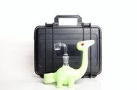 Wholesale Glasses Ends - Dino water pipes Glass Water Pipes Dino Rig with slyme color high end quality