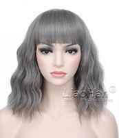 Wholesale Cosplay Grey Hair - Fashion Body Wave Grey Short Wig Lolita Cosplay Wig Short Bob Wig Grey Hair Wigs for Women