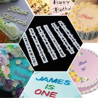 Wholesale Cake Decorating Embossing - 100Set 6Pcs Set Alphabet Number Letter Impress Cookie Biscuit Stamp Embossing Cutter Cake Fondant DIY Mold Tool Sugarcraft Decorating ZA0490