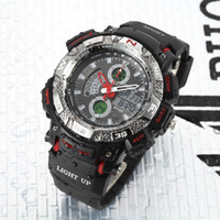Wholesale Ohsen Lcd Dual Core - New OHSEN Digital Quartz LCD Dual Core Watch Mens Sport Date Day Stopwatch Black Rubber Band Wristwatch fashion Swimming Male Watches