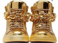 Wholesale Cheap Gold Wedges - Newest Men Wedge Gold Sneakers High Top Zipper Lace Up Sneakers Casual Shoes with Big Chains Wholesale Cheap Price