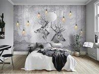 papier tier kunst großhandel-Europäische 3D Abstract Grey ELK Tier Fototapeten Fototapeten HD Wall Paper Rolls Home Wand Kunst Dekorative Wapiti Wandbild