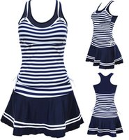 Wholesale Navy Blue Striped Dress - 2017 Fashion Women School Sporty Style Swimwear Navy stripes Print Tankinis Two Pieces Dress Swimsuits Plus Size M~3XL