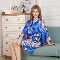 Wholesale Silk Lingerie Kimono - Pajama Women Japanese Yukata Kimono Satin Solid Royan Silk Robe Ladies Lingerie Sleepwear Kimono Bath Gown JPS Nightgown