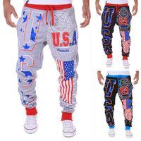 Wholesale Harem Pants Usa - Hot Sell Classics Fashion Men's Casual pants American Flag USA Printed letters Design Harem Pants LB