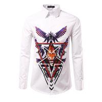 Wholesale White Cotton Eagle Print Shirt - 2017 New Arrival Men Print 3D USA eagle Shirts Male Casual Slim fit Full Sleeve Shirts camisa masculina Shirt men