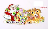 Wholesale Pull Santa - Hot Christmas Pictures On Match Box Three-dimensional Santa Claus Deer Pull A Cart Sticker Pictures On Match Box CHRISTMAS Ornament