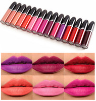 Wholesale High Quality Lipsticks - High Quality Brand MC Retro Matte Lipstick Matte liquid Lipgloss beauty lips waterproof 15colors 5ml vs Kylie