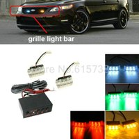 Wholesale Red White Strobe Lights - 2 X 9 18 LED Emergency Car Strobe Lights Car Front Grille Deck Strobe Flashing Light Yellow Red Green Vehicle Warning Lamp