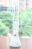 "Wholesale Milk Glasses - 14""height milk white glass water bong hand blown glass bong branch and single honeycomb perc oil rig water pipe glass hookahs free shipping"