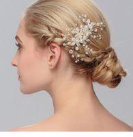 flor peine tiara al por mayor-Elegante boda nupcial pelo peine joyería flor cristal tiaras accesorios para el cabello Sparkly Bride Peines del pelo