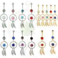 Wholesale Dream Catcher Navel Belly Ring - 2016 Hot Dream Catcher Jewelry Dangling Belly Button Rings Navel Ring Body Piercing Jewelry 15 colors