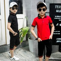 Wholesale Boys T Briefs - Children Boys Clothes Sports Suits 2Pcs Big boy Short sleeves Two pieces movement Set T-shirts & Pants Causal Tops & Shorts