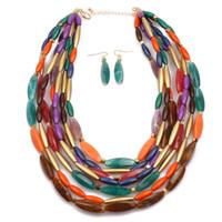 ingrosso collana di resina nera-2018 big bead Natural Stone necklace Jewelry Set Black Resin Party Gift Multilayer Handmade Beads Collana girocollo Orecchino Colares per le donne