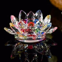 Wholesale Glass Bowls Decorations - Crystal Glass Lotus Flower Candle Holders 7 Colors Europe Bowl Candlestick For candelabra centerpieces Wedding Home Bar Party Decoration