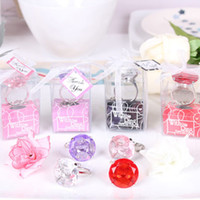 Wholesale Diamond Key Chain Crystal - Ring Diamond Keychain Bright Crystal Practical Key Chain Popular Gem Napkin Rings Wedding Favors And Gifts Hot 2mj F R