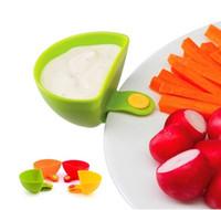 Wholesale Dips Bowl - 4 pcs set Dip Clips Kitchen Bowl kit Tool Small Dishes Spice Clip For Tomato Sauce Salt Vinegar Sugar Flavor Spices