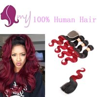 Wholesale Hair Extension Red - Queen Hair Brazilian Body Wave With Closure Ombre Brazilian Hair 1B Burgundy 4 Bundles Red Ombre Hair Extensions With Closure