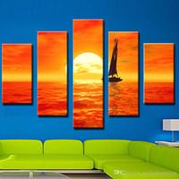 Wholesale beautiful oil paintings art online - 5 Picture Combination Art Paintings Set Sail Sunset Beautiful Sea Scenery Art Painting Sale No Frame Home Decor Painting