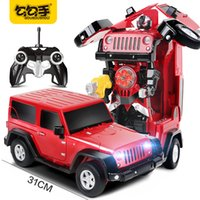 Wholesale Radio Control Off Road - GouGouShou RC Transformation Robot Cars 2.4G Radio Control Deformation Off-Road Car Emission Bullet Effective Model Boys Toys