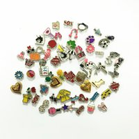 Wholesale float number - 100pcs lot Charms Mix DIY Alloy Floating Charms For Glass Living Memory Locket Charms
