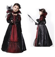 Wholesale Halloween Vampire Princess Children Halloween Costume Lace Dress Necklace Set Kid Party Dress Performance Cosplay Costumes