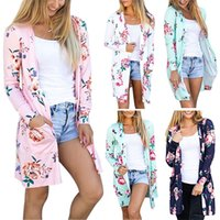 Wholesale Trench Coat Ship - New Floral Print Long Sleeve Women Trench Coats Loose Plus Size Autumn Polyester Print Long Style Thin Coats Free Shipping