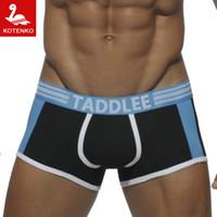 Wholesale Men S Boxers Designs - Wholesale-KOTENKO Brand Sexy Men Underwear Boxer Trunks Cotton Men's Boxers Underwear Gay Penis Pouch WJ Designed Low Waist Boxers