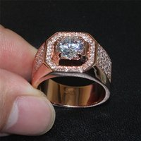 Moda Atmosférica 925 Sterling Silver Rose Gold Simulated Diamond Zircon Cocktail Ring Boys Classic Wedding Band Jewelry For Men Tamanho 7-13