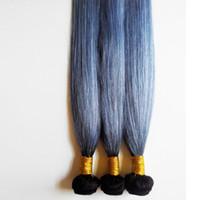 mejor tejido ombre al por mayor-Ombre tejido del cabello humano Cabello liso 7A grado brasileño de Malasia indio trama de extensión del cabello humano Ombre 1B / gris Sin procesar mejor Calidad