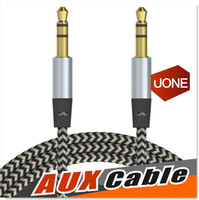 Wholesale Male Female Stereo Audio - Car Audio AUX Extention Cable Nylon Braided 3ft 1M wired Auxiliary Stereo Jack 3.5mm Male Lead for Apple and Andrio Mobile Phone Speaker
