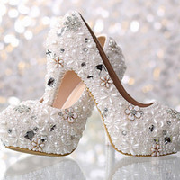 Wholesale bridal full slips for sale - Group buy 2019 White Gorgeous Full Beaded Inches High heeled Bridesmaid Bridal Shoes Crystal Diamond Lady Shoe for Wedding Party Ball Prom Shoes
