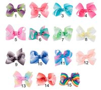 Wholesale Flower Embellishments - Handmade colorful gradient Polyester Satin ribbon Bow Flower Tie Appliques Wedding Scrapbooking Embellishment Crafts Accessory