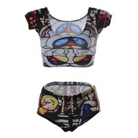 Wholesale Cartoons Pink Colour - Female Swimming Suit Tank tops Tight Sexy Beach Wear Push Up Swimsuit Tights Printing Bottom Swim Sets Character Cartoon Convent Nuns LNHst