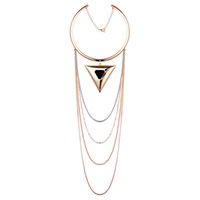 Wholesale Triangle Tassel Necklace - Europe and America Fashion The Snake Chain Of Bone Vintage Multilayer Tassel Choker Necklace Triangle Statement Necklaces Jewelry For Women
