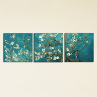 Wholesale Oil Picture Flower - Modern Print Painted Van Gogh Oil Painting Reproductions Single Abstract Canvas Art Apricot Flower Picture Painting On Canvas