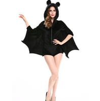 Wholesale Woman Batman Costume - For women Animal Costume Sexy Vampire Costume Adult Hooded Batman Coat Halloween Cosplay Costume Black Clothing