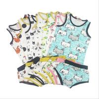 Wholesale panda clothes summer resale online - Baby Clothes INS Fox Outfits Kids Lemon Clothing Sets Children s Panda Summer Suit Cartoon Print Tank Shorts Sleeveless Top Pants New B2809