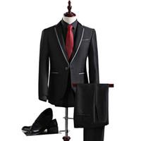 iş elbiseleri artı boyutu toptan satış-Wholesale-2016 Yeni Varış Sonbahar Yüksek Kalite Weding Elbise Tek Düğme Casual Suit Erkekler Siyah erkek Iş Takım Elbise Artı-Boyut S-3XL