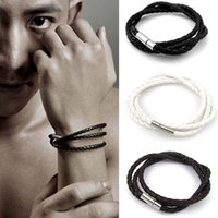 Wholesale Cross Bracelet Rope - 3 layers Genuine Leather Braided Bracelets Punk Men Wristband Men's Handmade New Arrival women Fashion