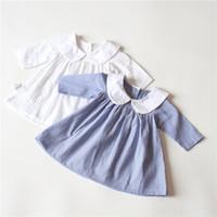 Wholesale Striped Pans - New Arrivals baby girl set 100%Cotton long sleeve stripped print dress little girl elegant pet pan collar princess dress 2 colors