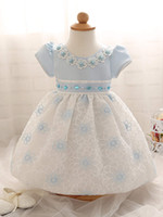 Wholesale Short Pleated Plaid Skirt - Korean children clothes newborn baby girl's flower dress with pearl kids infant summer skirts toddler princess party prom dresses