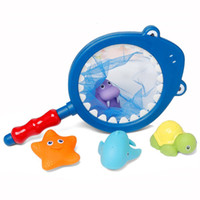 Wholesale Fishing Set Toy - 4Pcs Set Fishing Toys Network Bag Pick up Cat Fish Kids Toy Swimming Classes Summer Play Water Bath Doll Water Spray Bath toys