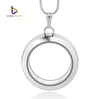 Wholesale Wholesale Silver Floating Charm Locket - 30mm Silver Round magnetic glass floating charm locket Zinc Alloy (chains included for free)LSFL02-1